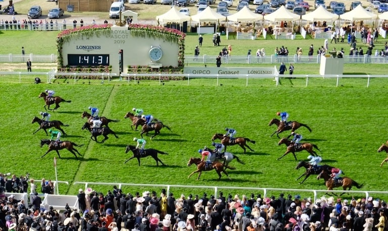 Horses crossing the finish line at Royal Ascot 2019